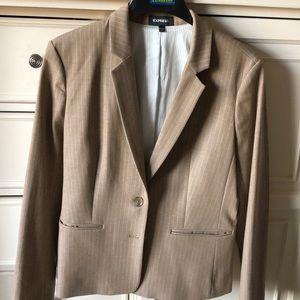 Express tan white pinstriped blazer sz14